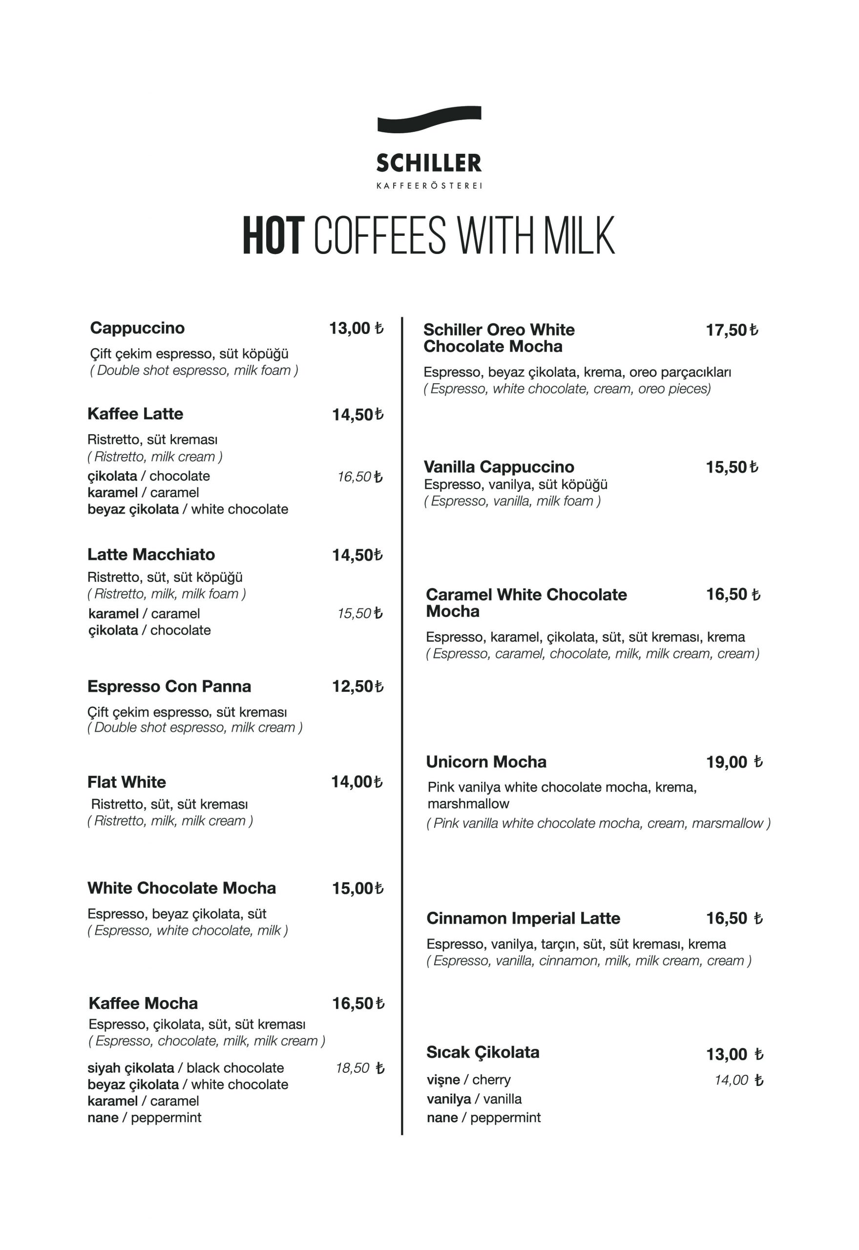 Hot Coffees with Milk
